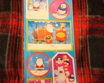 Stickers peel and stick gift tag stickers Christmas gift present stickers penguin Santa Claus train