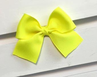 Yellow clip in hair bow, yellow hair bow, bright yellow hair bows, little girl hair bows, hair bow, alligator clip hair bows, ribbon bows