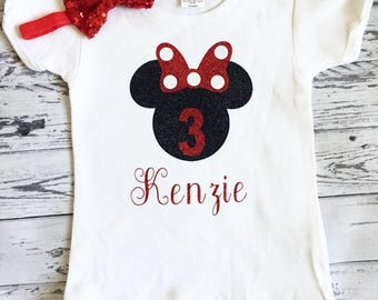 Black and Red Personalized Minnie Mouse 3rd Birthday Shirt, Minnie Mouse Birthday Shirt, 3rd Birthday Outfit, Minnie Mouse 3rd Birthday