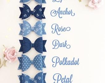 Denim bow - denim headband - denim bow clip - baby bow headband - bow headband - bow clip