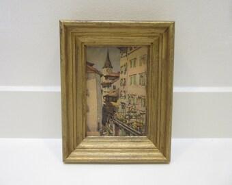 Vintage Souvenir European Village Sceen