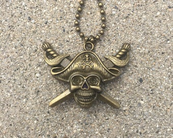 Pirate steampunk lepidolite necklace
