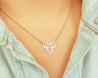 Fox Necklace Sterling Silver,  Origami Fox Necklace, Gold Fox Necklace, Origami Necklace, Minimalist Necklace