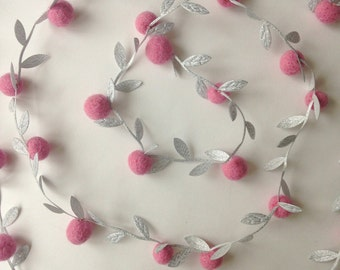 Silver garland with pink berries