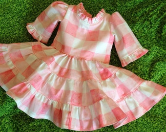 Doll clothing 18 inch, Girls clothing, Matching girls doll clothes, Gingham dress, Girls  Dress, pink dress