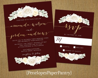 Romantic Burgundy Summer Wedding Invitation,White Roses,Gold Calligraphy,Shimmery,Elegant,Traditional,Custom,Printed Invitations,Wedding Set