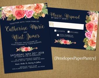 elegant rustic navy summer wedding invitationnavy bluecoralpeachblush - Navy And Coral Wedding Invitations