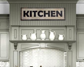 """Handcrafted Vintage Kitchen Steel Sign (36"""" x 10"""") Antique Kitchen Restaurant Home Decor Gift Mom's Kitchen Retro Kitchen Tin Sign PSS00030"""
