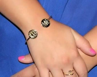 Personalized Monogrammed German Silver Double Round Ended Engravable Cuff Bracelet Silver or Gold Bridesmaid Sorority Graduation