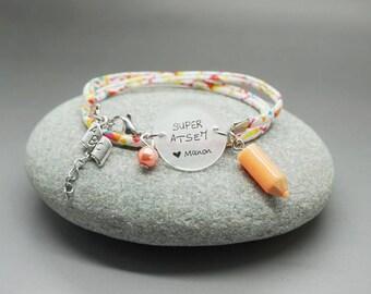 """bracelet liberty cabochon """"Super ATSEM"""" prénom enfant crayon - cadeau scolaire personnalisable - teacher gift"""
