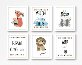 Tribal Animals Nursery Decor, Boho Nursery Decor, Tribal Nursery Wall Art, Tribal Baby Shower Gift, Boho Baby Shower, Gender Neutral Nursery