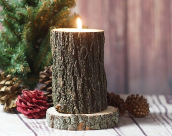 Rustic Log Candle Holder, Rustic Decor, Primitive Decor, Rustic Tealight Holder, Rustic Home Decor, Log Slice, Gift for him, Husband Gift