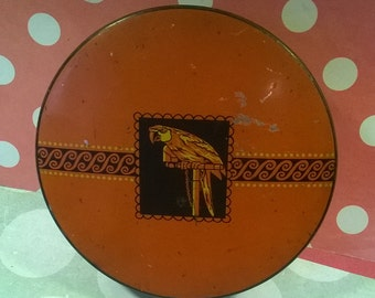 Sharp's Super-Kreem Toffee vintage tin with parrot