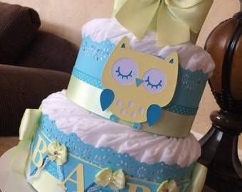 Turquoise and light yellow owl diaper cake/Owl baby shower centerpiece/Boy diaper cake/Neutral diaper cake