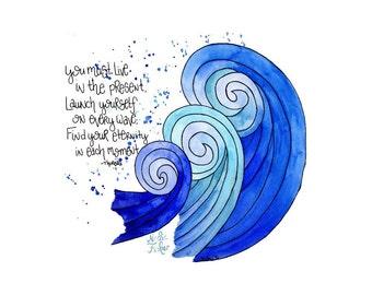 Live in the Present Thoreau Quote Watercolor Art Print   Carpe Diem   Quote Art   Waves   Ocean Art   Motivational Quotes   Home Decor