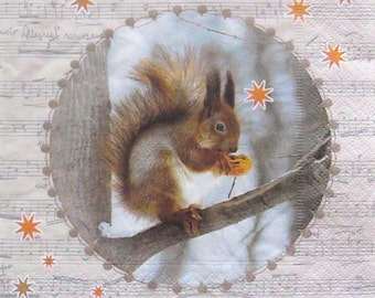 Set of 2 pcs 3-ply ''Squirrel'' paper napkins for Decoupage or collectibles 33x33cm, Servetten, Tissue napkins, Decopatch napkins