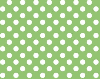 Little One Flannel Too! Green Dots fabric in White on Green by Kimberbell Designs for Maywood Fabric