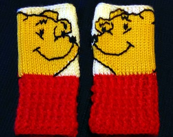 Fingerless Gloves Wrist Warmers Pooh Adult Sizes