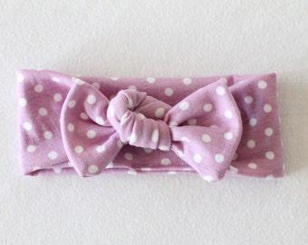 Topknot headband, Lavender Polka