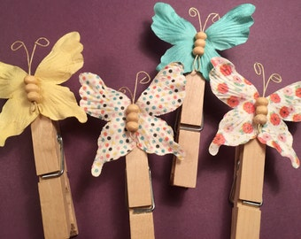 Butterfly Clothespin Magnets or Bookmarks - Set of 4