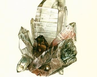 Cristalli di quarzo del 1970. Cristallo di Rocca.  Tavola originale pietre rocce minerali preziosi. Geologia. Decorazione della parete.
