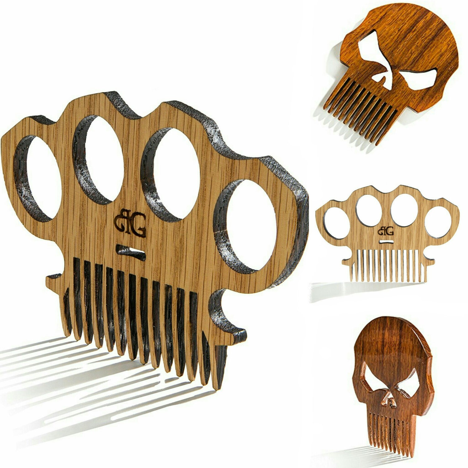Wooden Knuckles Brass Knuckles Punisher Beard Comb With Awesome Gloss