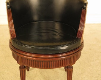 28742E: BAKER Revolving French Louis XVI Leather Desk Chair