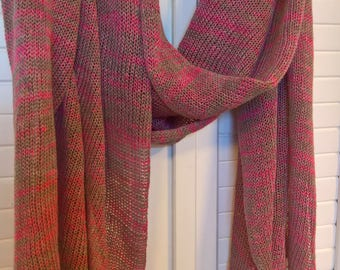 Linen Scarf Shawl Wrap Stole Pink Grey Natural Melir Multicolored, Light, Transparent, Knitted, Infinity, Spring / Summer