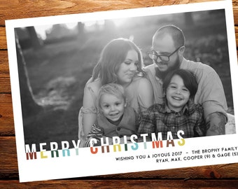 Christmas Photo Card // Christmas Picture Card // Holiday Card, Two-Toned Christmas Card, Personalized Family Christmas Card, DIY Printable