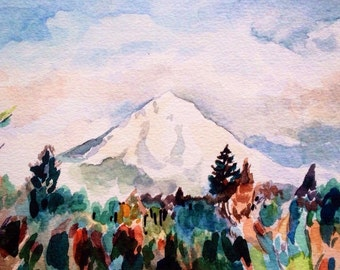 Mount Hood Watercolor- Giclee Print- Northwest Art - Art Print - Landscape Art - Mt Hood Art - Landscape Painting- Oregon Art