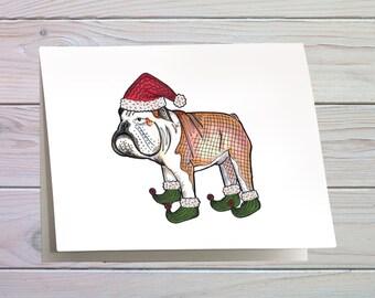 Christmas card of an English Bulldog, dog card, fun christmas card, greeting card, quirky playful card, holiday card, British bulldog card