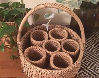 Vintage woven organizer basket