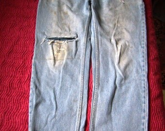 Jeans distress, hole, patched, stained, Jeans man, EU 50/XL size, US W39L30, mark Kingfield, Vintage 1970