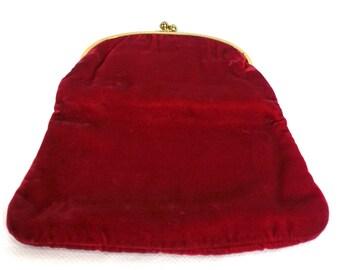 Vintage Red Velvet Clutch Purse / retro 1950s 50s evening bag handbag kiss closure foldover rockabilly