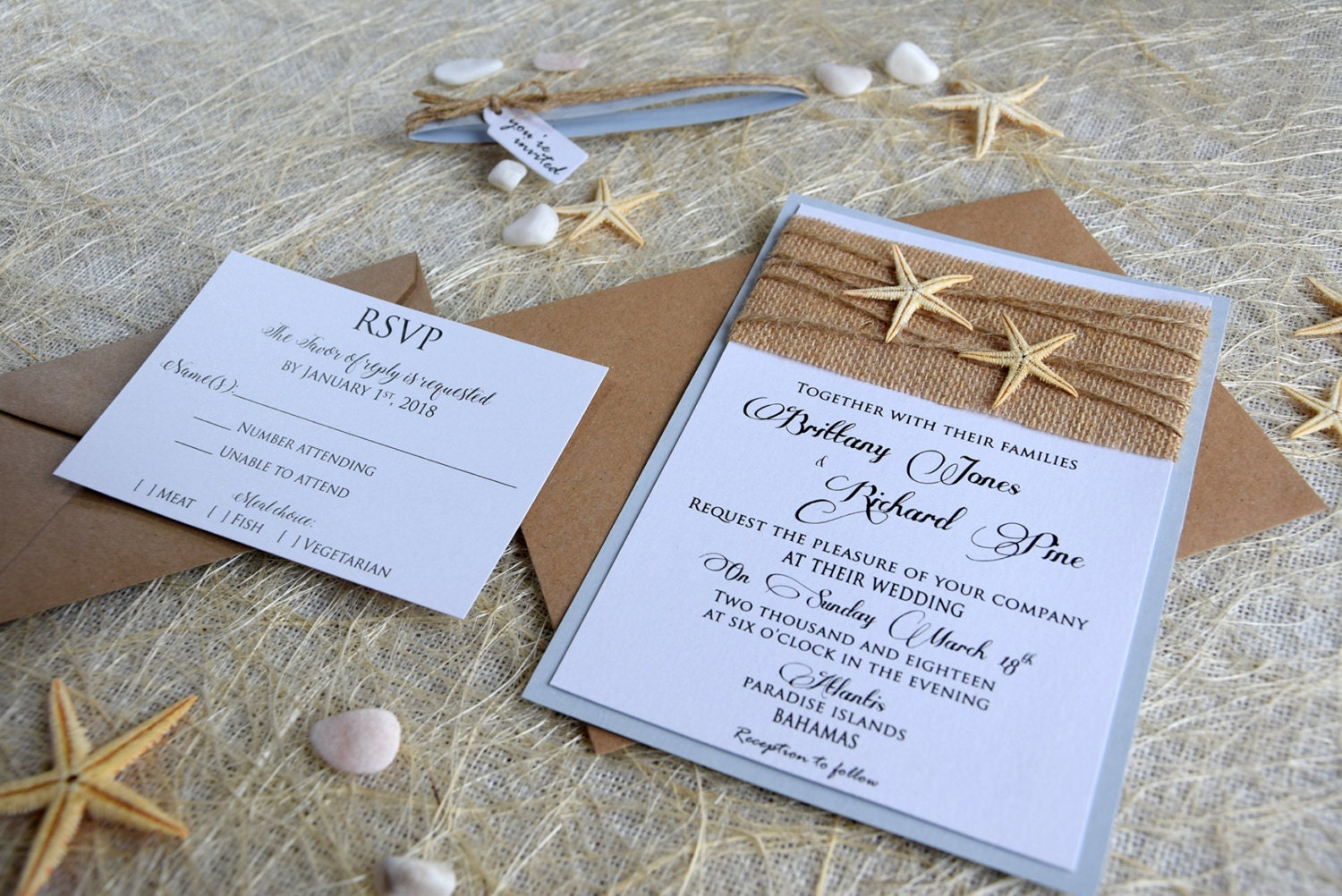 Custom Made Wedding Invitations: Custom Invitations Burlap Wedding Invitation Beach Wedding