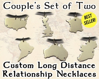 Couples Long Distance Relationship Necklace Set - Romantic Jewelry - Matching LDR Pendants to show your love -  boyfriend or girlfriend gift