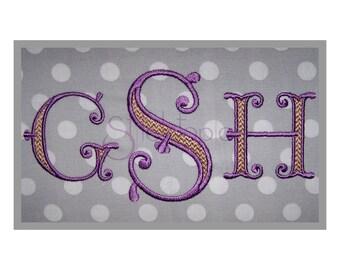 """Victorian Filled Monogram Set - 1.5"""", 2"""" 2.5"""" 3"""" 3.5"""" - Machine Embroidery Fonts Embroidery Fonts BX Fonts Monogram Fonts - Instant Download"""
