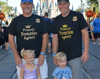 Men's Disney Shirts. Princess protection agency or mickey head with name.