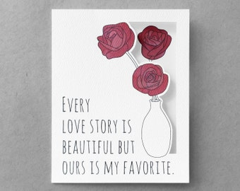 Anniversary card for husband  Love card for wife  Card for boyfriend  Girlfriend card  Rose card  My favorite