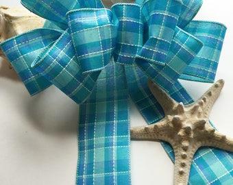 Beach Theme Bow, Blue Bow, Turquoise Bow