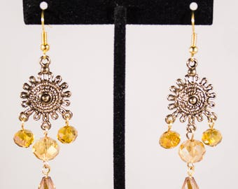 Gold Sunburst Chandelier Earrings - Sunburst Earrings - Gold Earrings - Tangled Earrings  - Gold Crystals
