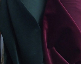 cotton velvet fabric, maroon green black blue 150cm wide