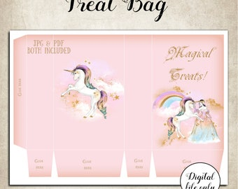 Digital Unicorn Magical Treats Candy Treat Favor Bag- Printable,DIY,Party,Download,Instant Download