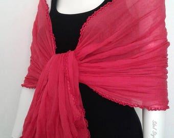 Stole shawl scarf scarf turban pink wrinkled cotton woman, scarf mid-season, gift idea mother, woman gift idea.
