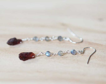 Labradorite & Rough Garnet Earrings, Multi Gemstone Dangle Earrings, Sterling Silver or Rose Gold Filled, Wire Wrapped Raw Garnet Earrings