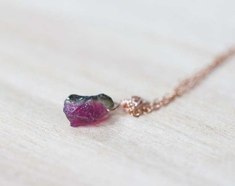 Tiny Raw Watermelon Tourmaline on Rose Gold Filled, Oxidized Sterling or Sterling Silver Chain, Raw Tourmaline Necklace, Pink Green Nugget