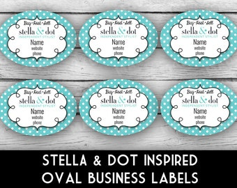 STELLA & DOT Inspired Oval BUSINESS Labels - Direct Sales Labels, Business Info Labels, Business Stationery, Professional Printing
