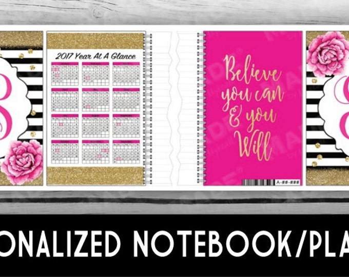 2017 PLANNER/NOTEBOOK - Pink Peony, Gifts, Notebook, Note Cards, Pen, Gold Glitter, Stationery, Printed Stationery, Christmas Gifts