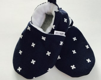 Dark Blue Cross Baby Shoes, Baby Boy Shoes, Soft Soled Baby Shoes, Baby Booties, Baby Moccasins, Crib Shoes, Toddler Slippers, Baby Slippers
