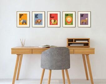 "Wildlife of Africa Nursery Prints, Animals Prints, Kids Poster, Animal Nursery Art, Nursery Wall Art, Nursery Decor, Set of 5 (5"" x 7"")"